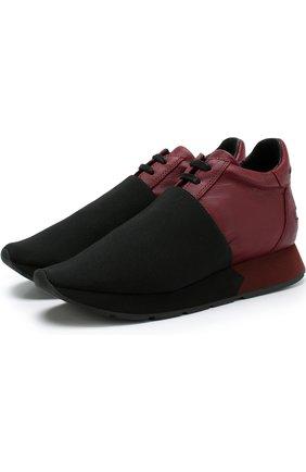 Комбинированные кроссовки Aquila на шнуровке Manuel Barcelo бордовые   Фото №1