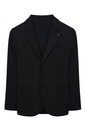 Детский шерстяной костюм из пиджака и брюк EMPORIO ARMANI синего цвета, арт. 8N4V02/4N19Z | Фото 2
