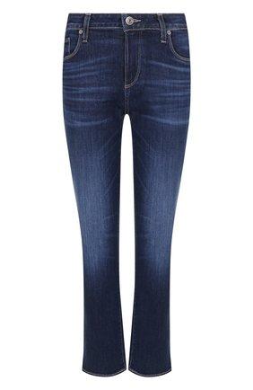 Укороченные расклешенные джинсы с потертостями Paige синие | Фото №1