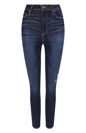 Укороченные джинсы-скинни с потертостями Paige синие | Фото №1