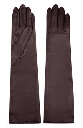 Удлиненные кожаные перчатки Sermoneta Gloves бордовые   Фото №1