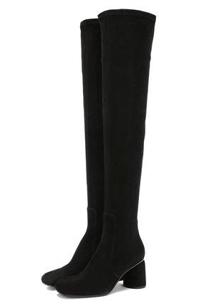 Замшевые ботфорты на фигурном каблуке Baldan черные | Фото №1