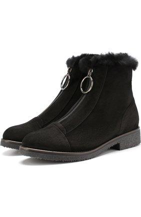 Замшевые ботинки с отделкой из овчины | Фото №1