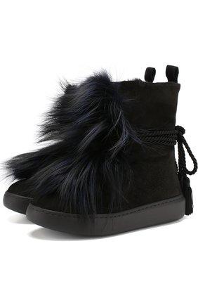 Замшевые ботинки с внутренней отделкой из овчины Baldan черные | Фото №1