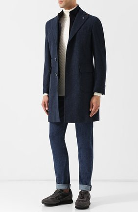 Однобортное шерстяное пальто с подстежкой L.B.M. 1911 синего цвета | Фото №1
