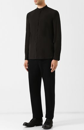 Рубашка из смеси хлопка и льна с воротником мандарин Transit черная | Фото №1