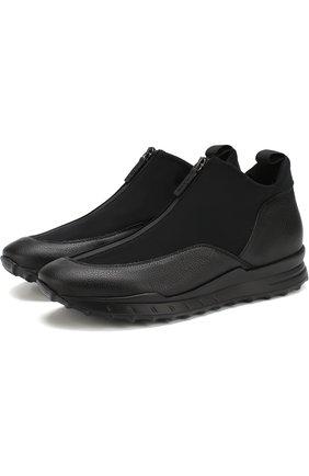 Комбинированные кроссовки без шнуровки на молнии Beyond черные | Фото №1