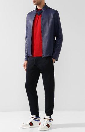 Мужские кожаные кеды new ace GUCCI белого цвета, арт. 523472/0FIW0 | Фото 2
