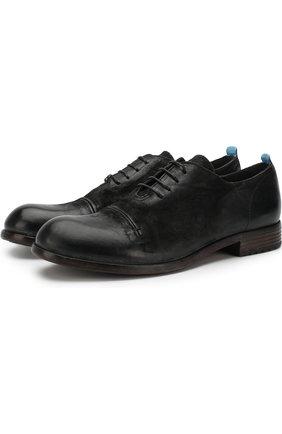 Кожаные оксфорды на шнуровке Moma черные | Фото №1