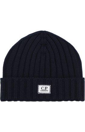 Шерстяная шапка фактурной вязки C.P. Company хаки цвета | Фото №1