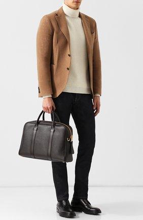 Мужская кожаная сумка для ноутбука с плечевым ремнем TOM FORD темно-коричневого цвета, арт. H0364T-CP5 | Фото 2