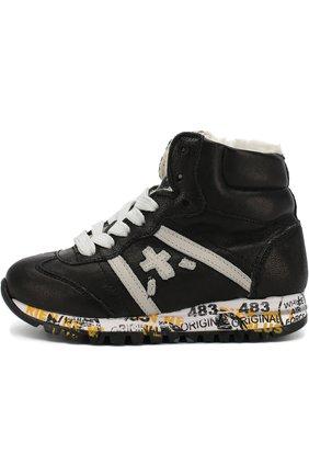 Детские высокие кожаные кроссовки с внутренней меховой отделкой Premiata will be черного цвета | Фото №1