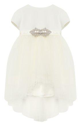 Платье из вискозы с пышной юбкой и декоративным поясом | Фото №1