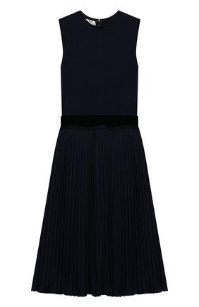Платье с плиссированной юбкой и бархатным поясом | Фото №1