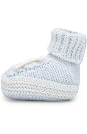 Шерстяные пинетки Baby T белого цвета | Фото №1