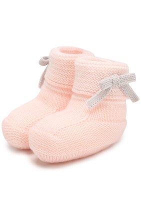Шерстяные пинетки Baby T розового цвета | Фото №1