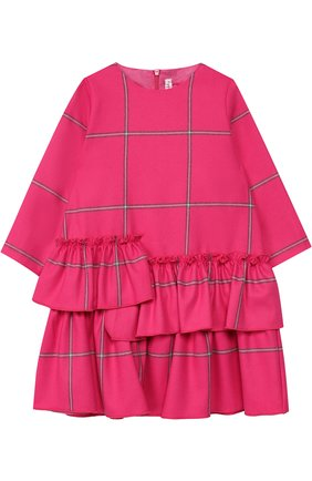 Детское платье с декоративными оборками Il Gufo фуксия цвета | Фото №1