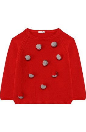 Шерстяной пуловер Il Gufo красного цвета | Фото №1