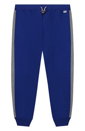 Хлопковые джоггеры с поясом на кулиске Il Gufo синего цвета | Фото №1