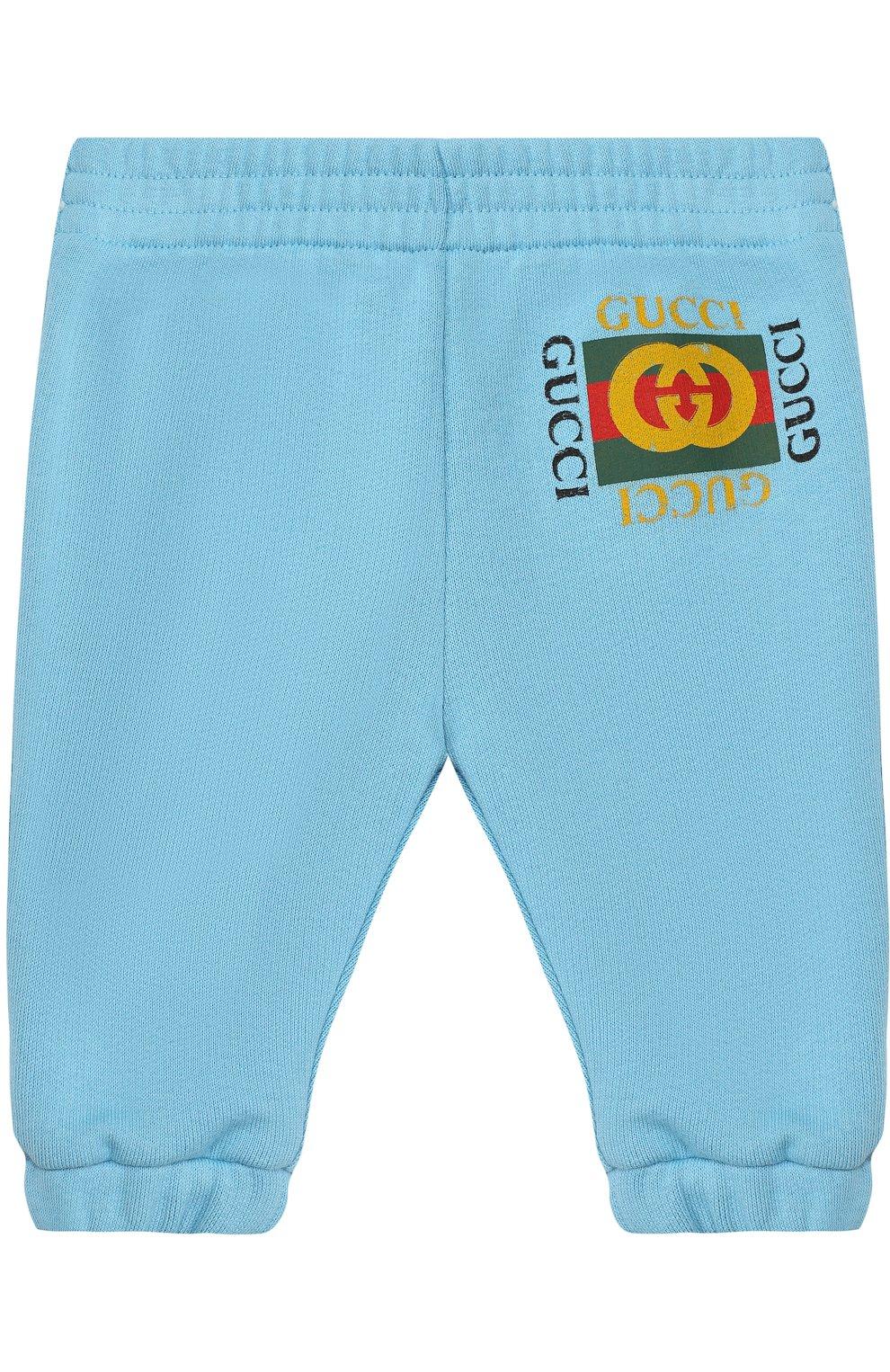 Детские хлопковые джоггеры с логотипом бренда GUCCI голубого цвета, арт. 509179/X3L00   Фото 1