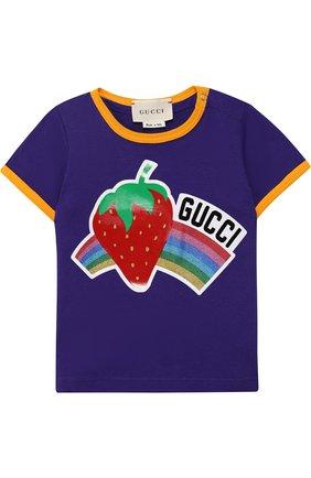 Детский хлопковая футболка с принтом GUCCI фиолетового цвета, арт. 526665/X3076 | Фото 1