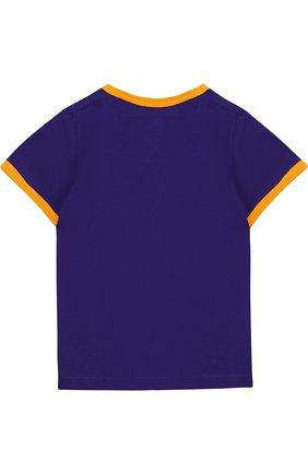 Детский хлопковая футболка с принтом GUCCI фиолетового цвета, арт. 526665/X3076 | Фото 2