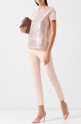 Укороченные однотонные брюки со стрелками DKNY розовые | Фото №1