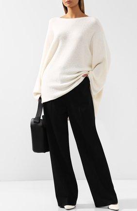 Удлиненный пуловер свободного кроя из смеси кашемира и шелка The Row кремовый | Фото №1