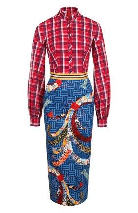 Приталенное платье-миди из хлопка с принтом Stella Jean разноцветное | Фото №1