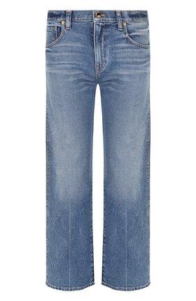 Женские укороченные джинсы с потертостями KHAITE синего цвета, арт. 1011-018/W901 | Фото 1