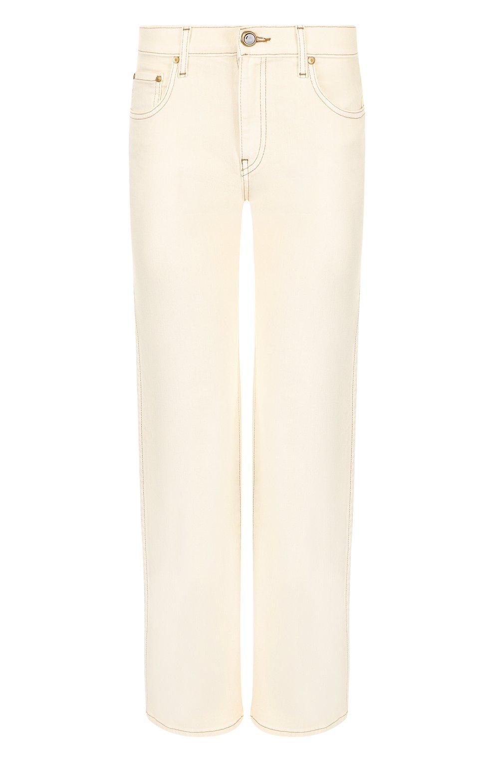 Укороченные джинсы с контрастной прострочкой | Фото №1