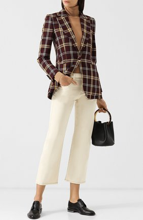 Укороченные джинсы с контрастной прострочкой | Фото №2