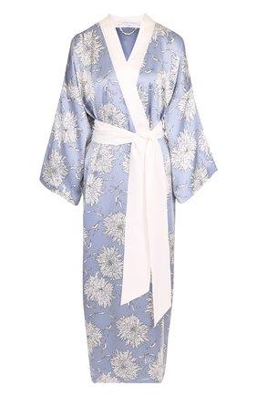 Шелковый халат с поясом и принтом Olivia Von Halle голубой | Фото №1