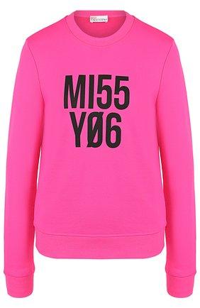 Однотонный пуловер с круглым вырезом и надписью REDVALENTINO розовый | Фото №1