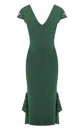 Однотонное платье-миди с V-образным вырезом и оборками | Фото №1