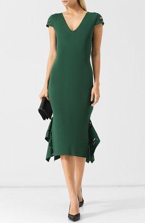 Однотонное платье-миди с V-образным вырезом и оборками Roland Mouret зеленое   Фото №1