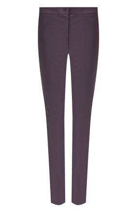 Однотонные кожаные брюки прямого кроя Escada сиреневые   Фото №1