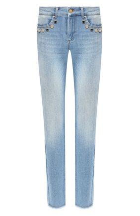 Укороченные джинсы с потертостями и декоративной отделкой Escada Sport голубые | Фото №1