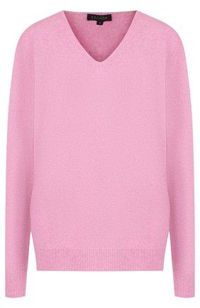 Однотонный пуловер из смеси кашемира и шелка с V-образным вырезом Escada розовый   Фото №1