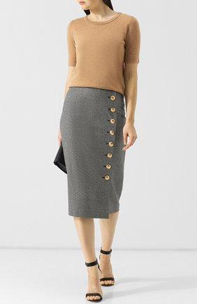 Шерстяная юбка-миди с контрастными пуговицами Escada серая   Фото №1