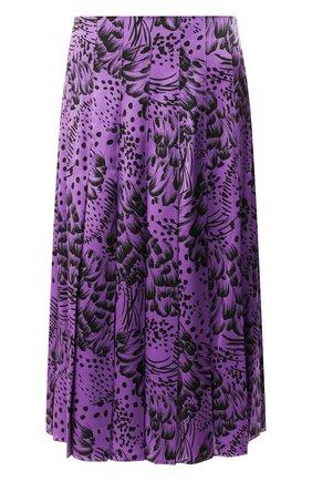 Шелковая юбка-миди в складку с принтом Escada фиолетовая   Фото №1