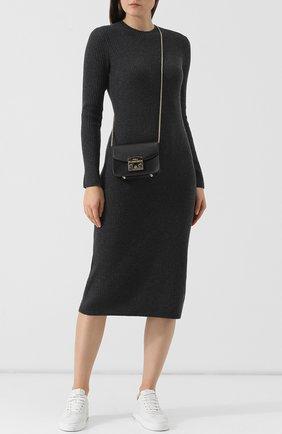 Вязаное платье-миди из смеси шерсти и кашемира с круглым вырезом Polo Ralph Lauren серое | Фото №1