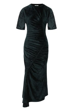Бархатное платье-миди с драпировкой Kenzo темно-зеленое | Фото №1
