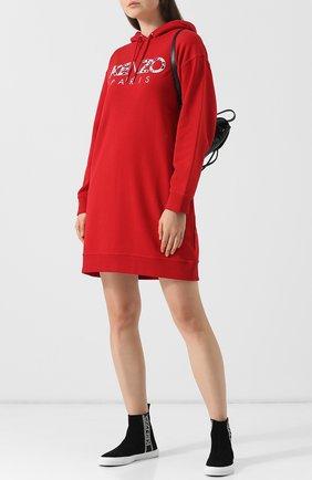 Хлопковое платье с капюшоном и логотипом бренда Kenzo красное | Фото №1