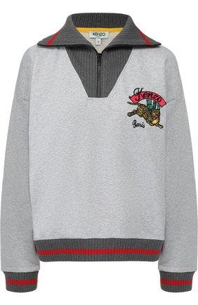 Хлопковый пуловер с контрастной отделкой и логотипом бренда Kenzo серый | Фото №1