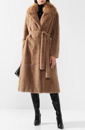 Норковая шуба прямого кроя с воротником из меха лисы Yves Salomon светло-коричневая | Фото №1