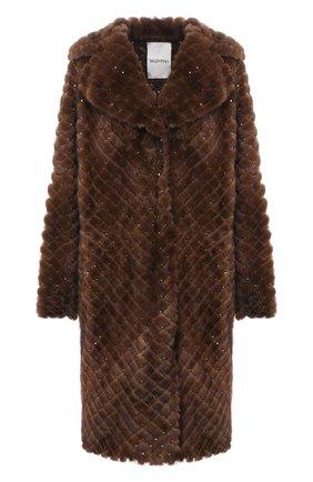 Женская шуба из меха норки с декоративной отделкой VALENTINO коричневого цвета, арт. QF3FA5701SF | Фото 1