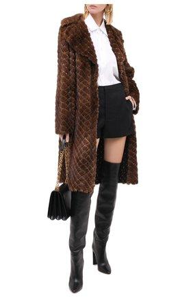 Женская шуба из меха норки с декоративной отделкой VALENTINO коричневого цвета, арт. QF3FA5701SF | Фото 2