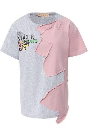 Хлопковая футболка с контрастной аппликацией Ruban разноцветная | Фото №1
