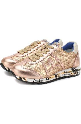 Детские комбинированные кроссовки на шнуровке с вышивкой пайетками Premiata will be золотого цвета | Фото №1